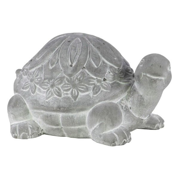 Cemented Turtle Figurine, Washed White