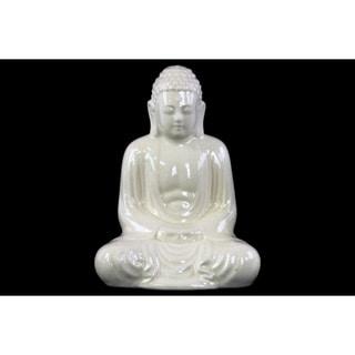 Ceramic Meditating Buddha Figurine With Rounded Ushnisha, White