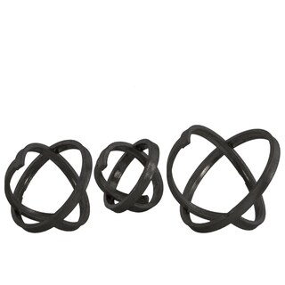 Metal Round Abstract Sculpture, Gunmetal Gray, Set of 3