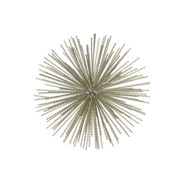 Ornamental Metal Sea Urchin Sculpture On Stand, Large, Gold