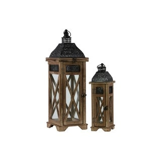 Square Shaped Wooden Lantern With Ring Hanger, Set Of 2, Dark Brown and Black