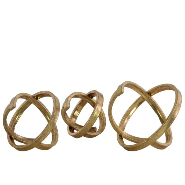 Metal Round Abstract Sculpture, Gold, Set of 3