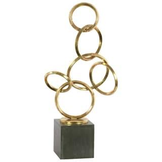 Metal Abstract Interlocking Circles Sculpture on Square Base, Gold