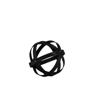 Bamboo Orb Dyson Sphere with 5 Circular Rings, Small, Black