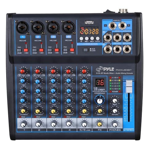 Pyle PMXU63BT BT 6Ch Studio DJ Controller Audio Mixer Console System