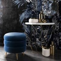 Ladder Blue Velvet Ottoman