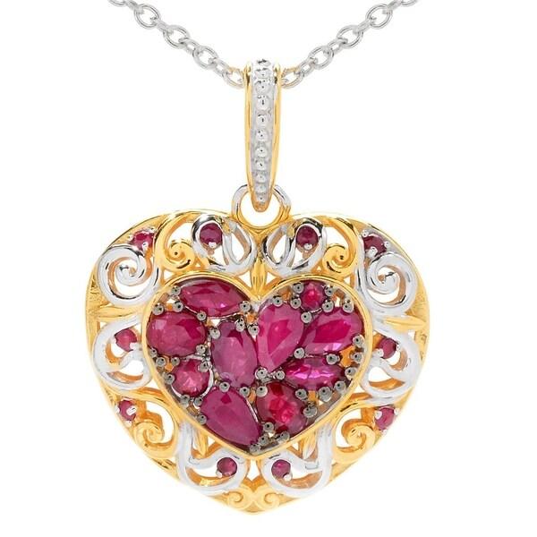 Shop Michael Valitutti Palladium Silver Ruby Cluster Heart