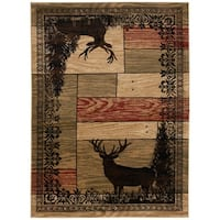 Mayberry Rugs Woodgrain Elk  Multi Lodge Area Rug