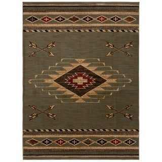 Mayberry Rugs Arrowhead Slate Blue/Green Southwest Lodge Area Rug