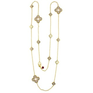 18K Gold Finish CZ Floral Knight Clover Necklace - White