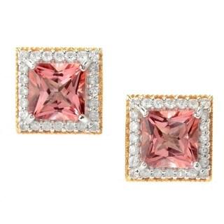 Michael Valitutti Palladium Silver Morganite Color Topaz & White Zircon Halo Stud Earrings