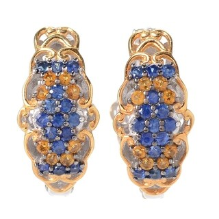 Michael Valitutti Palladium Silver Nigerian Mabira Blue Sapphire & Citrine Hoop Earrings