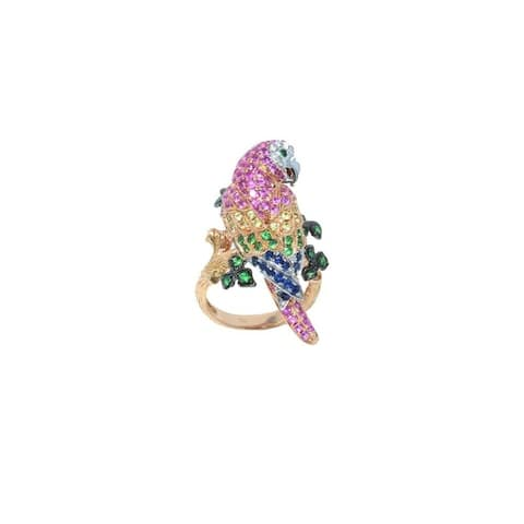 Rose Gold Diamond & Gemstone Pave Parrot Ring