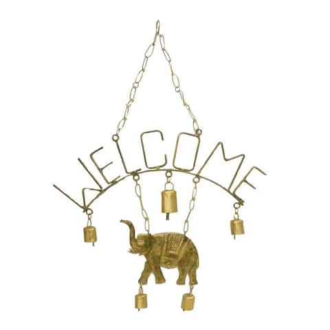 Handmade Welcome Elephant Chime with Five Bells (India)