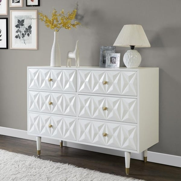 Bea White Geo Texture Wood And Gold Metal 6 Drawer Dresser