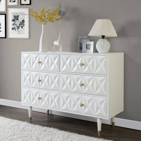 Bea White Geo-Texture 6-Drawer Dresser