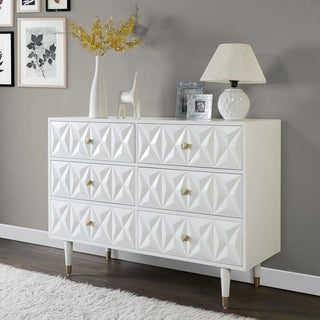 Bea White Geo Texture Wood and Gold Metal 6-Drawer Dresser