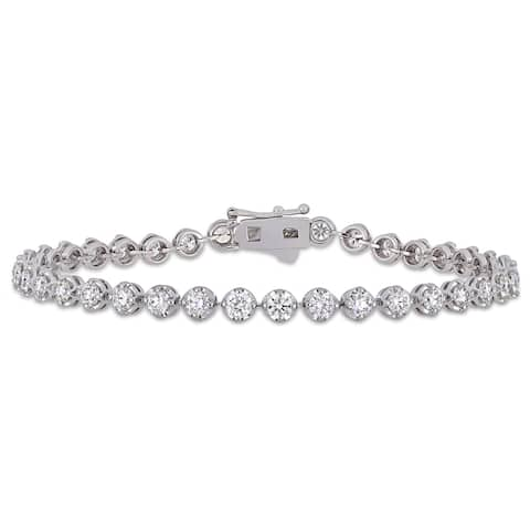 Miadora 14k White Gold 4-1/6ct TDW Diamond Tennis Bracelet