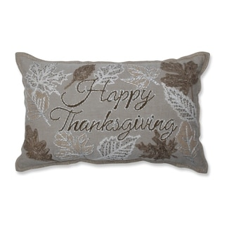 Pillow Perfect Happy Thanksgiving Neutral Decorative Beaded 11.5x18.5-inch Throw Pillow
