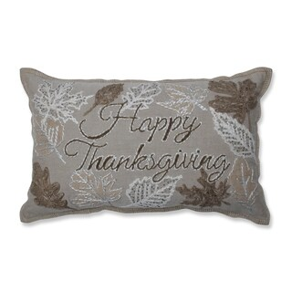 Pillow Perfect 'Happy Thanksgiving' Neutral Cotton/Eco-fill Decorative Beaded Throw Pillow