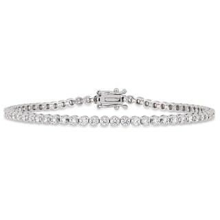 Miadora 14k White Gold 2-1/4ct TDW Diamond Link Tennis Bracelet