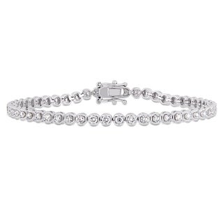 Miadora 14k White Gold 2-4/5ct TDW Diamond Link Tennis Bracelet