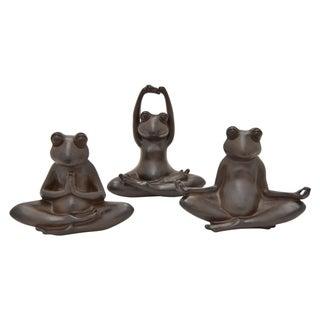 "8 "" -Three Hands Set Of Three Yoga Frogs"