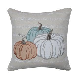 Natural Pumpkins Appliqued Harvest Decorative Throw Pillow