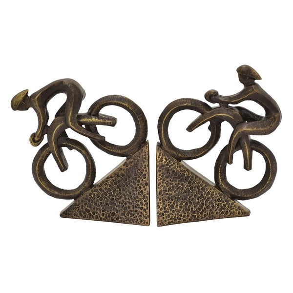 """7.25 """" -Three Hands Set Of Two Cyclist Bookends"""
