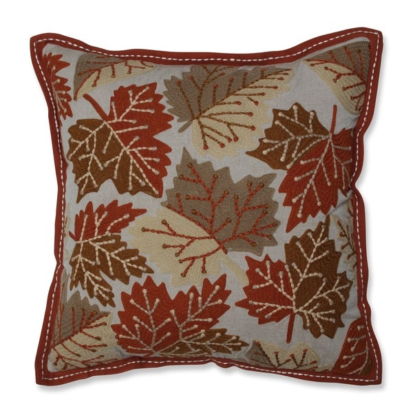 Pillow Perfect Falling Leaves Harvest Beaded Decorative 18-inch Throw Pillow