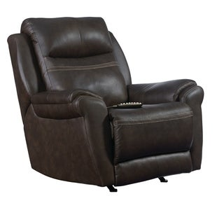 Southern Motion Gold Metal Taupe Leather SoCozi Massage Rocker Recliner