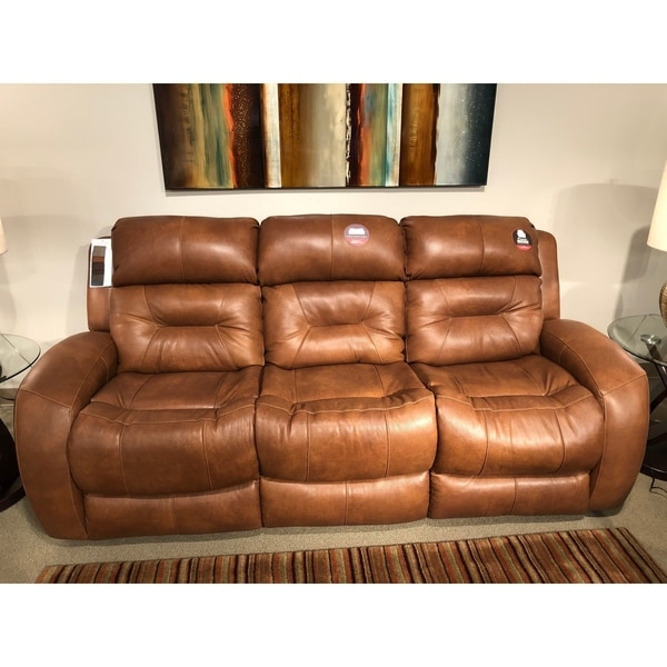 Southern Motion Showcase Brown Leather Double Reclining Sofa
