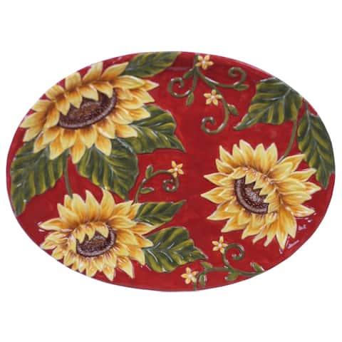 Certified International Sunset Sunflower Oval Platter