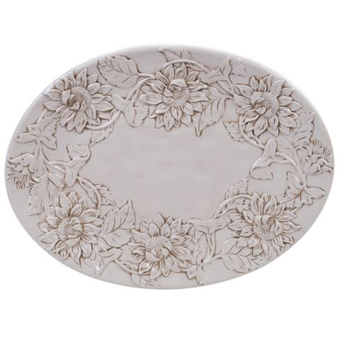 Certified International Toile Rooster Embossed Oval Platter