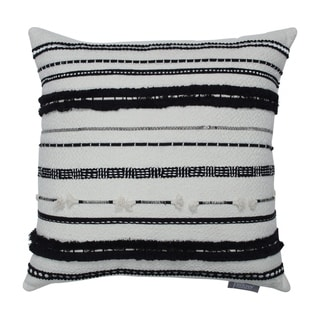Line Works Black and Off White Decorative Throw Pillow