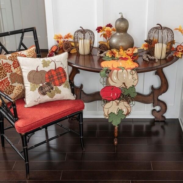 Pillow Perfect Harvest Plaid Pumpkins Applique Decorative Pillow 18 Multicolored