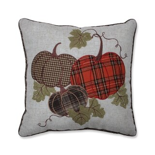 Harvest Plaid Pumpkins Applique Throw Pillow Multicolored