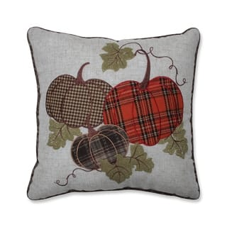 Pillow Perfect Harvest Plaid Pumpkins Applique 18-inch Throw Pillow Multicolored