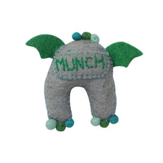 Handmade Felt Sea Tooth Monster (Nepal) - Green