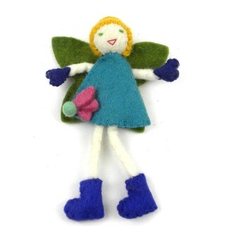 Handmade Felt Tooth Fairy, Blonde with Blue Dress (Nepal)