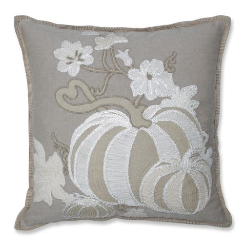 Pillow Perfect Harvest Pumpkins Decorative Beaded 18-inch Pillow Natural/Off White