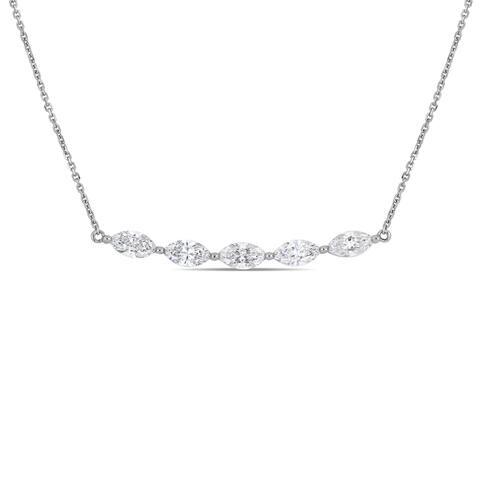 Miadora 14k White Gold 1-1/2ct TW Marquise-Cut Diamond Station Necklace