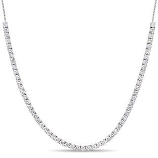 Miadora 18k White Gold 4-5/8ct TDW Diamond Dangle Back Adjustable Necklace