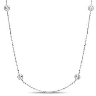 Miadora 14k White Gold 1ct TDW Diamond Station 20-Inch Necklace
