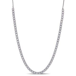 Miadora 14k White Gold 2 3/8ct TDW Diamond Dangle Back Adjustable Necklace