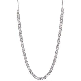 Miadora 14k White Gold 3 7/8ct TDW Diamond Dangle Back Adjustable Necklace