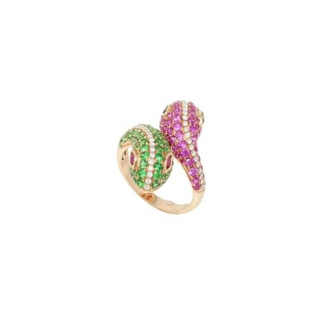 Rose Gold Diamond & Gemstone Pave Snake Ring