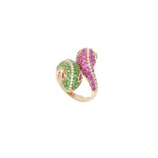 Rose Gold Diamond & Gemstone Pave Snake Ring
