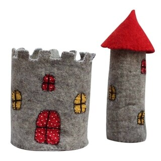 Handmade Large Felt Castle with Red Roof (Nepal)