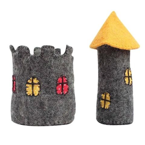 Handmade Small Felt Castle (Nepal) - Yellow